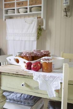 .I love the days when I make applesauce, chili sauce, pickles, peaches, jams, and jellies~the scent in my little kitchen~and the look of the finished jars~