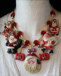 Christmas Rose necklace snow sparkle pinecones glitter handmade boho red Christmas charm