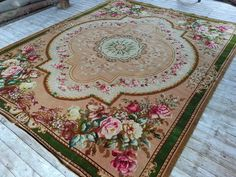 9x11 Antique Floral Cabbage Rose Victorian Oriental Wool Rug Axminster 1900 | eBay