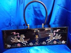 VINTAGE Rare Wilardy Beaded Hand-Painted Poodles & Flowers on Shiny Black LUCITE a Collectors Dream!