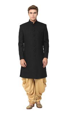 Yepme Black Blended Sherwani @Looksgud.in #Yepme, #Black, #Blended, #Sherwani