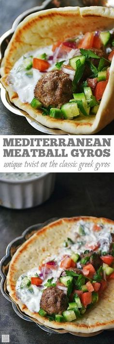 Mediterranean Meatball Gyros Sandwiches are full of flavor and very satisfying! Using simple flavors often found in Greek cuisine, this unique recipe puts a twist on a traditional gyros recipe. Makes a tasty dinner or appetizer recipe for parties too! Mediterranean Diet Recipes, Mediterranean Dishes, Mediterranean Appetizers, Traditional Gyro Recipe, Greek Gyros, Beef Dishes, Dishes Recipes, Salad Recipes, Recipies