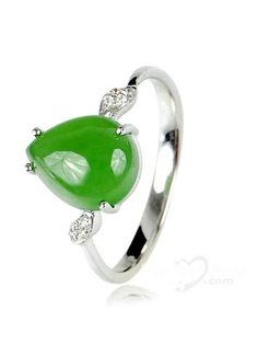 XYYC Lovely Plated Platinum Sterling Silver Perfect Jade Ring For Lady