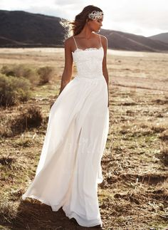 Wedding Dresses - $142.89 - A-Line/Princess Floor-Length Chiffon Wedding Dress With Beading Appliques Lace (0025101905)