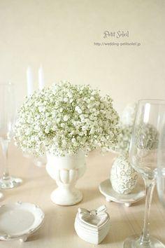Baby's-breath in milk glass? Baby's Breath Wedding Flowers, Wedding Table Flowers, Wedding Bouquets, Wedding Reception, Wedding Decorations, Table Decorations, Rustic Theme, Green Flowers, Planting Flowers