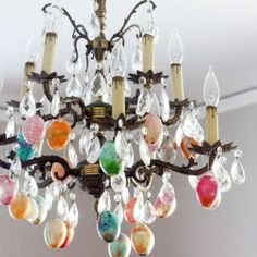 Chandeliers make a great place to display Easter eggs.