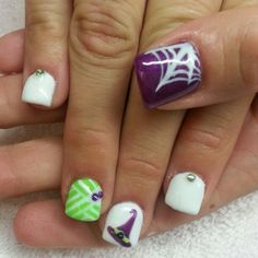 Halloween nails White shellac with mummy witches hat and a spider web Witch Hats, Nail White, Halloween Shellac Nails, Spider Webs, Halloween Nails