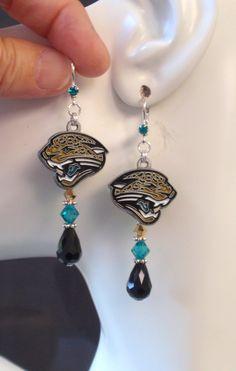 Jacksonville Jaguars Earrings, Jaguars Bling, Black Teal and Gold Crystal…