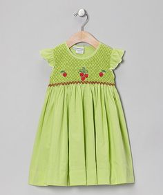 Take a look at this Green Strawberry Dress - Infant, Toddler & Girls by Sweet Dreams on #zulily today!