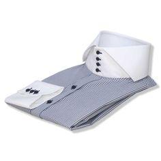 Italian-Blue Stripes High Collar - John Clothier Italian Blue Stripes | I Vintage Men, Vintage Fashion, Vintage Style, High Collar Shirts, Shirt Sleeves, Full Sleeves, Plain White Shirt, Collar Styles, British Style