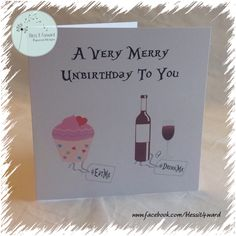 A Very Merry Unbirthday To You -  Birthday Card - Personalised Card - Alice in wonderland themed card - Eat me - drink me - Printed card