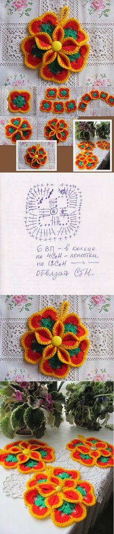 DIY Crochet Colorful Flower Coasters DIY Crochet Colorful Flower Coasters by diyforever