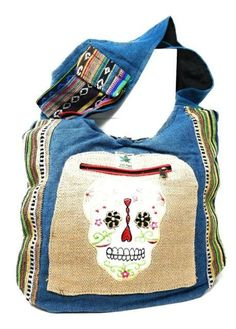 Sugar Skull Hemp Hobo Bag Purse Cross Body Cotton Hand Crafted Skull Purse, Sugar Skull Design, Hippie Bags, Coin Purse Wallet, Nylon Bag, Leather Handle, Wallets For Women, Purses And Handbags, Outfit