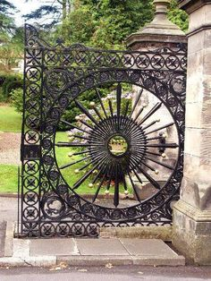 The Old Donibristle Estate Gates. These detailed wrought iron gates used to mark… The Old Donibristle Estate Gates. These detailed wrought iron gates used to mark the entrance to the Earl of Moray's estate at Dovecot Park, Aberdour Metal Gates, Wrought Iron Gates, Garden Gates, Garden Art, Balcony Garden, Art Fer, Door Gate, Unique Doors, Iron Art