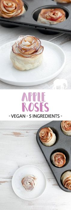 Recipe for vegan Apple Roses. They look super fancy, but are so incredibly easy to make! Surprise your family, friends or colleagues with this dessert! Vegan Treats, Vegan Desserts, Vegan Recipes, Apple Desserts, Homemade Apple Butter, Vegan Party Food, Slow Cooker Apples, Brunch, Apple Roses