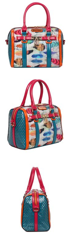 FEATHER PRINT BOSTON BAG by Nicole Lee #nicolelee #NLlookbook #purse