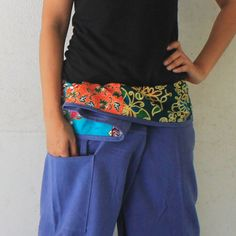 patchwork on waist and blue long Thai fisherman pants hand weave cotton,size S-XL,unisex pants,yoga,spa pants. by meatballtheory on Etsy