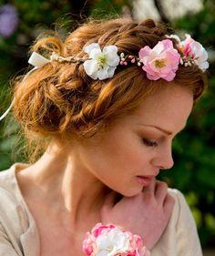 DAWN: Couronne de fleurs de pommier blanc cassé et rose - Nuage coloré.