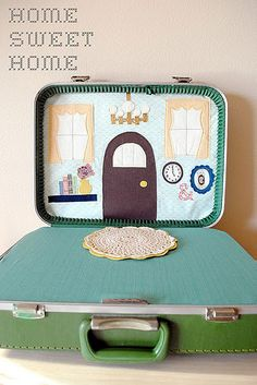 DIY dollhouse in a vintage suitcase. Awesome.