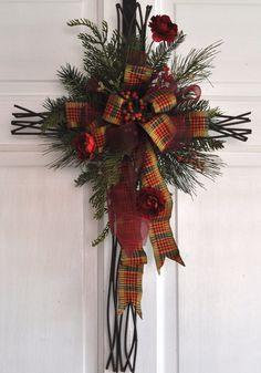 Christmas Cross Door Hanger Wall Decor Christian by RedBarnWreath