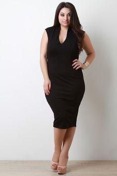 5953a784be1 Sleeveless Bodycon Midi Dress. Plus Size ...