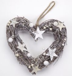 Heart Wreath with Stars  A lovely rustic heart shaped wreath with stunning star detail.   #homedecor #heart #wreath #hangdecoration #rustic #stars