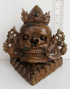 STUNNING! Old 19th.c Copper Tibet Tibetan Yama King of Death