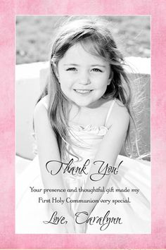 First Holy Communion photo thank you card use border color (pink & blue) with your soft photo in color, black & white, or sepia. Personalize wording to suit