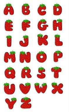 alfabeto de Fresas 🍓 Hand Lettering Alphabet, Alphabet Art, Calligraphy Alphabet, Alphabet And Numbers, Alphabet Templates, Lettering Tutorial, Lettering Design, Writing Fonts, Cute Fonts