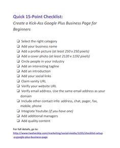 15-Point Checklist: Create A Kick-Ass #GooglePlus Business Page @Pauline Hoch Cabrera - Blogging / Social Media Tips