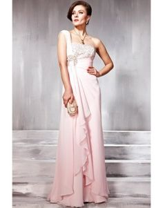 Pink asymmetrical one shoulder draped floor length tencel dress with applique  US$186.00