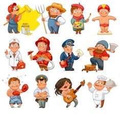 Professions isolated on white background Vector Image - Mathe Ideen 2020 Community Workers, Community Helpers, Kids Cartoon Characters, Cartoon Kids, School Work Organization, Fire Prevention Week, English Fun, Cartoon Sketches, Speech And Language