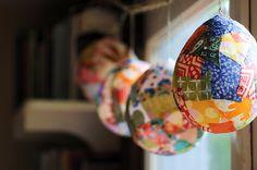 "papier mache ""lantern"" decorations with beautiful, colorful paper"