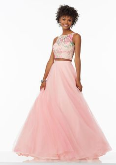 Shop Morilee's Two-Piece Prom Dress with Tulle Skirt with Floral Printed Lace Top. Prom Dresses by Morilee designed by Madeline Gardner. Two-Piece Prom Dress with Tulle Skirt with Floral Printed Lace Top. Mori Lee Prom Dresses, Prom Dresses Long Pink, Prom Dresses 2017, Designer Prom Dresses, Prom Party Dresses, Nice Dresses, Prom Gowns, Occasion Dresses, Elegant Dresses