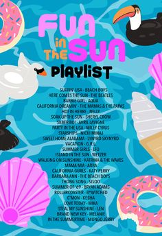 Fun in the Sun Pool Party Playlist – Studio DIY - Summer Party Party Playlist, Song Playlist, Summer Playlist, Road Trip Playlist, Music Mood, Mood Songs, Music Music, Sommer Pool Party, Hawaian Party