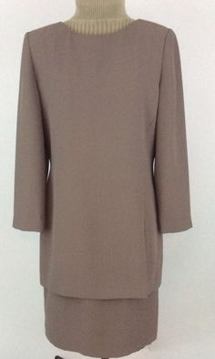 Talbots Petites Womens Dress Size 6 Taupe Long Sleeves Lined One Piece K14 #TalbotsPetites #OnePieceBackZip