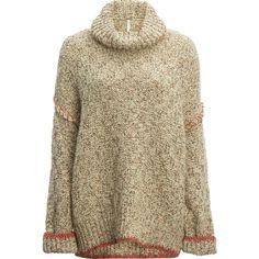 Free People Echo Pullover Sweater ($168) ❤ liked on Polyvore featuring tops, sweaters, free people pullover, brown tops, oversized pullover sweater, sweater pullover and oversize sweater