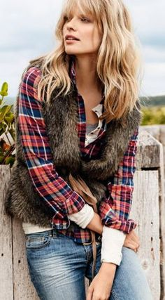 awesome layers...jeans/plaid shirt/long sleeve tee/short sleeve tee/fur vest
