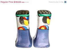 SALE RARE Vintage Colorful Salt and Pepper by eclecticnesting, $16.20