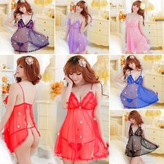 100% Brand New and High quality! Style:Sexy lingerie Material:Cotton Blend + Lace Color:Black/Red/Blue/Light Blue/Pink/Purple Size:One Size Fits XS- M (fit most women) Package Included:1 Lingerie Dress + G-String Woman chest spring, is always the most attractive scenery Looming temptation , but people can not resist The curves of a woman hazy head off gently ride ...