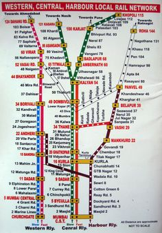 How to travel in Mumbai local train map:Find Your Way Around Mumbai with This Train Map Local Train Map, Local Map, Train Route, Mumbai Trip, Mumbai City, Travel Maps, India Travel, Kerala Travel, Train Travel