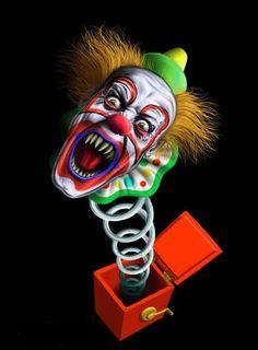 Scary Clown from a box of death Joker Clown, Gruseliger Clown, Clown Faces, Circus Clown, Creepy Clown, Creepy Carnival, Clown Mask, Carnival Costumes, Halloween Circus