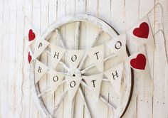 Photo Booth banner with red fabric hearts by victorianstation
