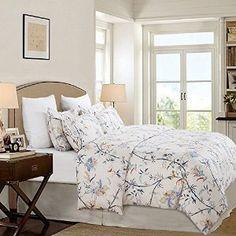 Amazon.com: Vaulia Lightweight Microfiber Duvet Cover Set, floral Pattern Design, Ivory - King Size: Home & Kitchen