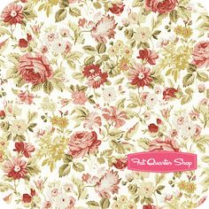 Vintage Rose Ecru Packed Flowers Yardage SKU# VROS103-E - Fat Quarter Shop
