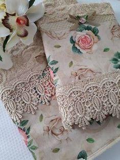 Resultado de imagem para toalhas de banho decoradas com renda guipper