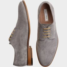 Joseph Abboud Hayes Gray Suede Oxford Shoes - Casual Shoes | Men's Wearhouse