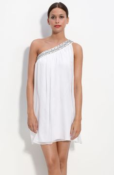 One Shoulder Dresses   Bride Party Dress – Calvin Klein One Shoulder Chiffon Dress with ...