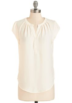Most Lightly to Succeed Top in Ivory - Mid-length, Sheer, Woven, Cream, Solid, Work, Cap Sleeves, Variation