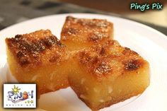 """Cassava Cake is a classic Filipino dessert enjoyed all year round. Cassava Cake is made of freshly grated cassava, eggs, coconut milk and sugar and baked in round """"leche flan"""" tin molds. Pinoy Dessert, Filipino Desserts, Filipino Recipes, Filipino Food, Recipe For Cassava Cake, Casava Cake Recipe, Philipinische Desserts, Dessert Drinks, Delicious Desserts"""